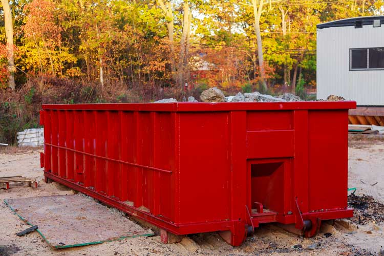 mini red skip bin outside house